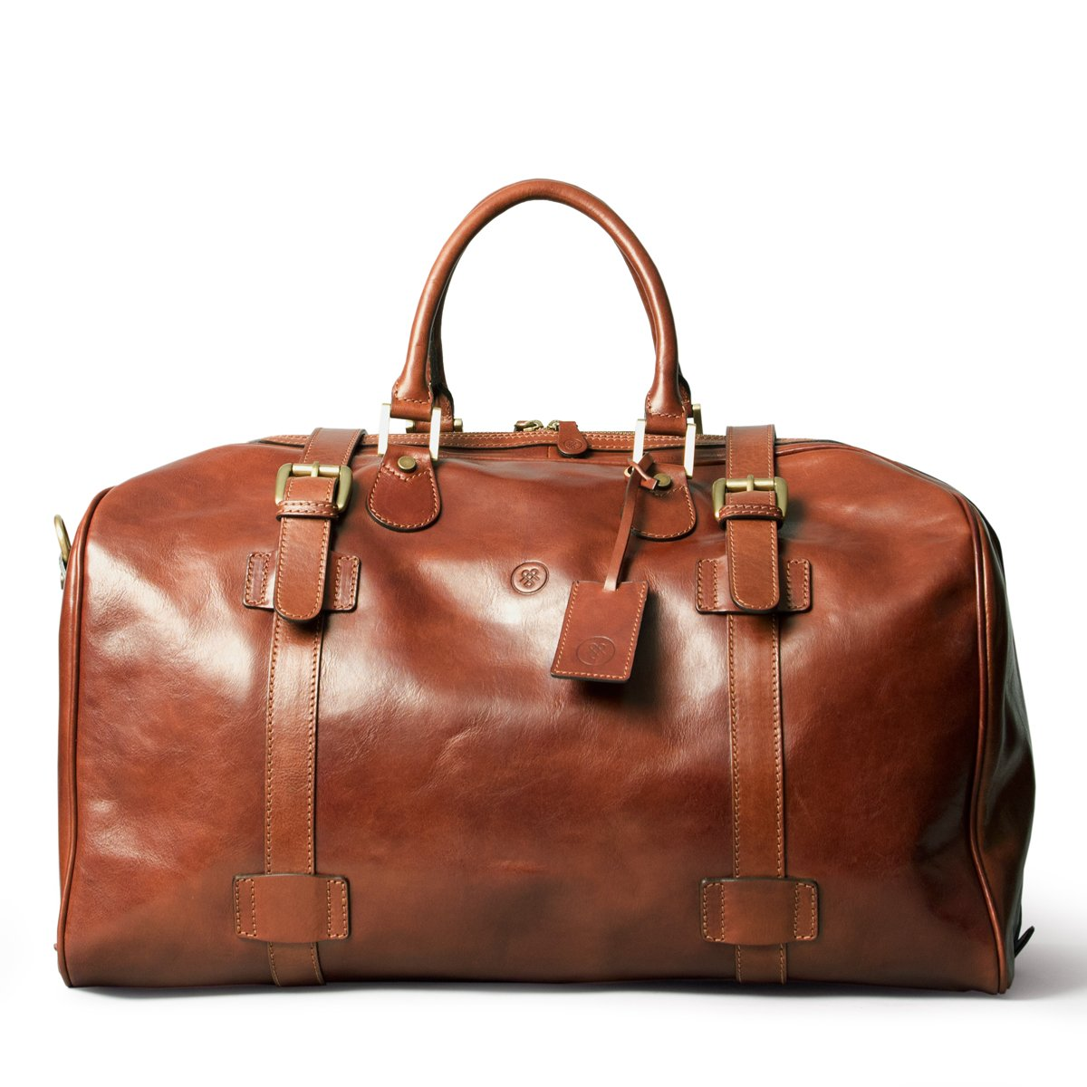 Maxwell Scott® Personalised Luxury Tan Leather Suitcase (The FleroL) - Large