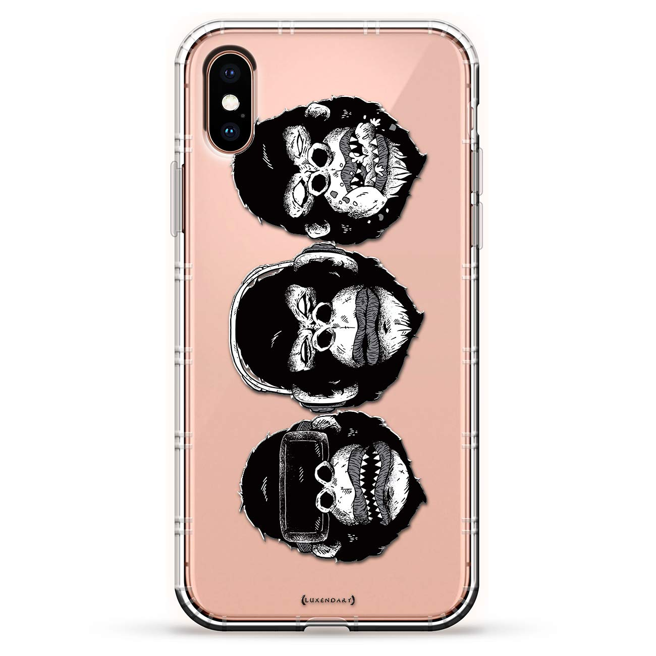 Animals: See No Evil, Hear No Evil, Speak No Evil Monkeys | Luxendary Air Series Clear case with 3D-Printed Design & Air Cushions for iPhone Xs/X