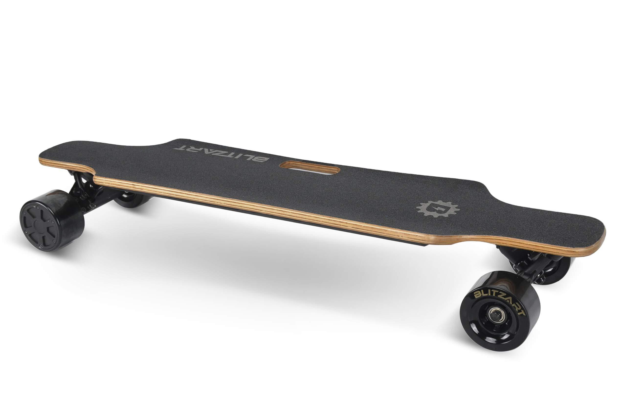 BLITZART Huracane 38'' Electric Skateboard Longboard E-Skateboard Motorized Electronic Hub-Motor 3.5'' Wheels (Black)