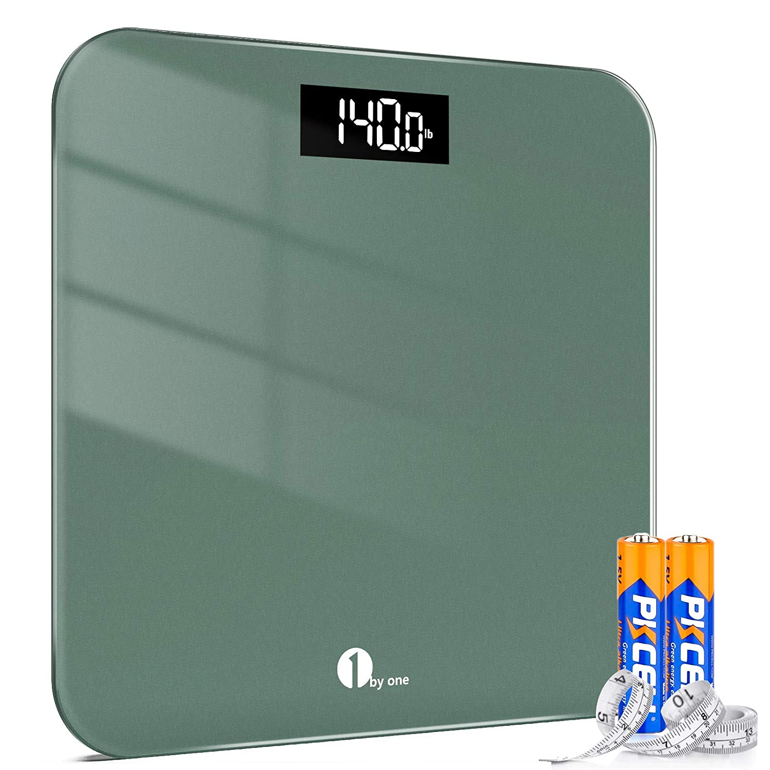 Amazon Com 1byone Digital Scales For Body Weight Bathroom Scale With Accuracy Led Display 400 Lbs Capacity Tape Measure And Batteries Included Green Industrial Scientific