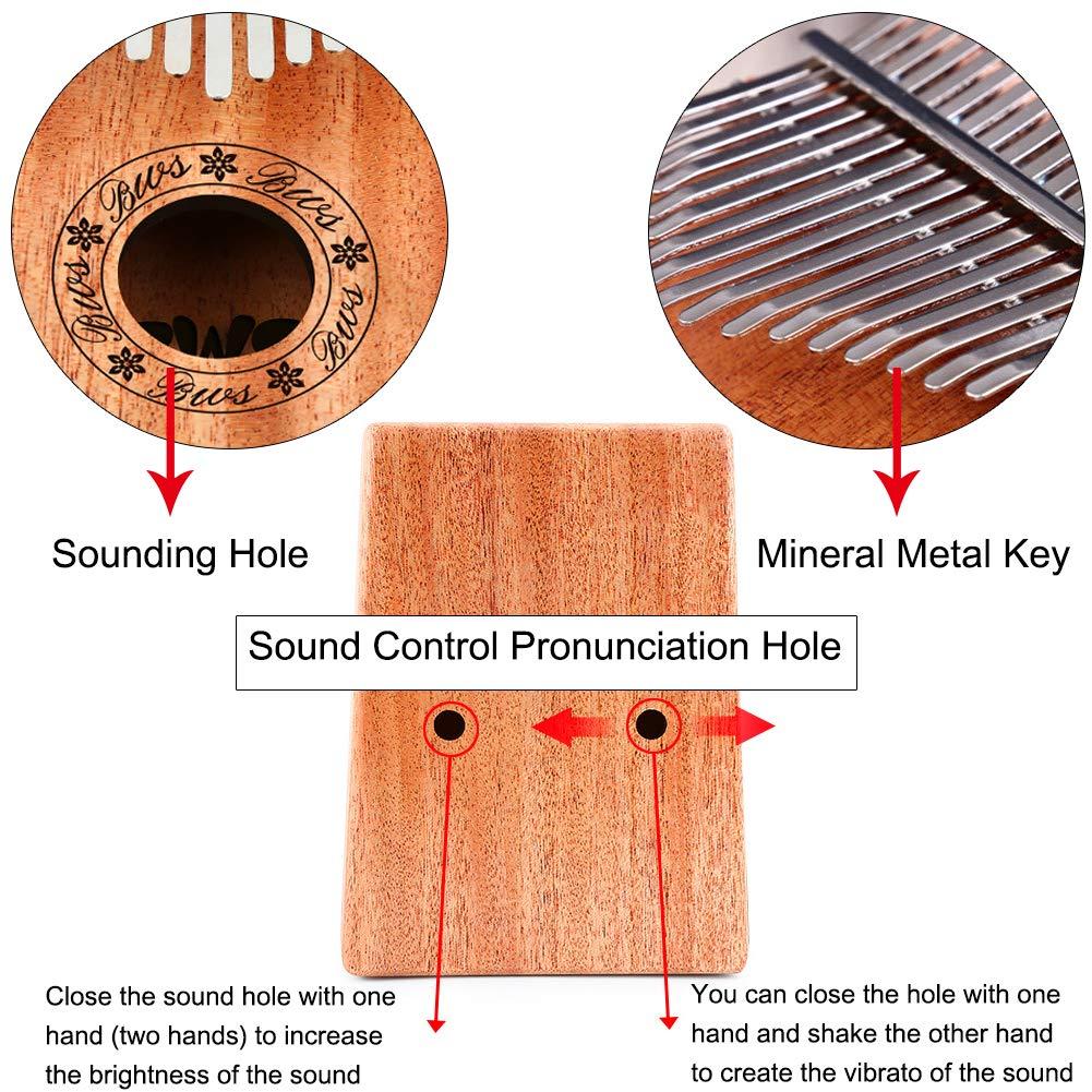Kalimba 17 Keys Thumb Piano, CJRSLRB Mahogany Wood Finger Piano with Tune Hammer, Storage Protective Bag, Scale Sound Sticker, Study Instruction, Mbira Likembe for Kids Adult Beginners (Wood) by CJRSLRB (Image #4)