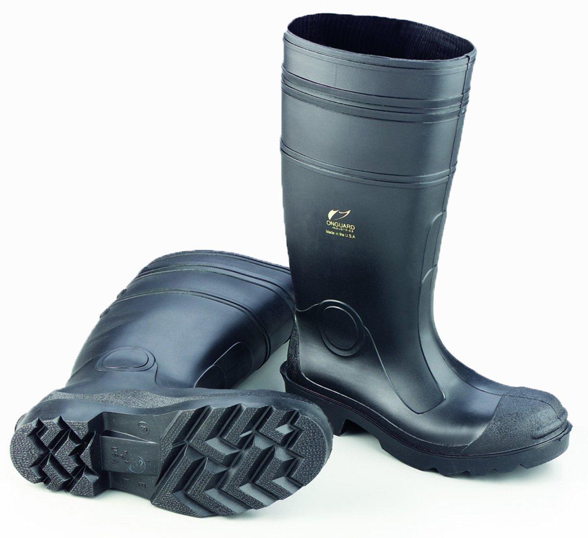 ONGUARD 87401 PVC Men's Buffalo Plain Toe Knee Boots with Lug Outsole, 16'' Height, Black, Size 12