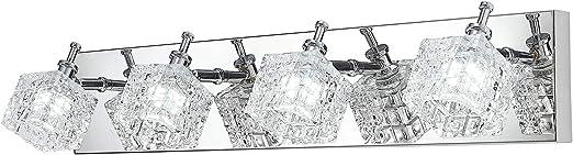4 Light Bathroom Vanity Light Fixtures Over Mirror, Modern Crystal Glass Vanity Lights, Stainless Steel