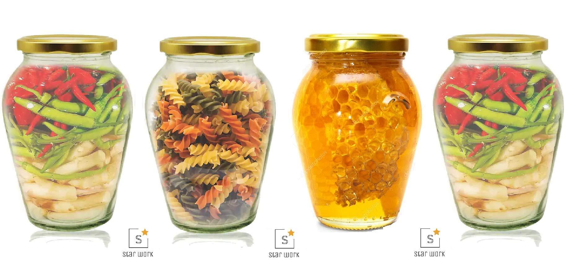 Amazon price history for 1000 ML Big Pot Glass Jar for Pickle Storage Dried Masla,Grocery,Grain Storage Jar (4)
