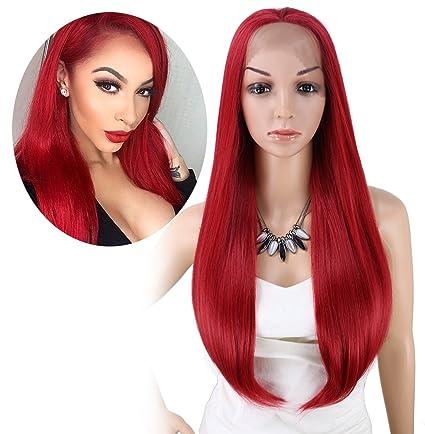 """kalyss 26 """"de largo recto color rojo Yaki de la mujer sintético Lace Front"""