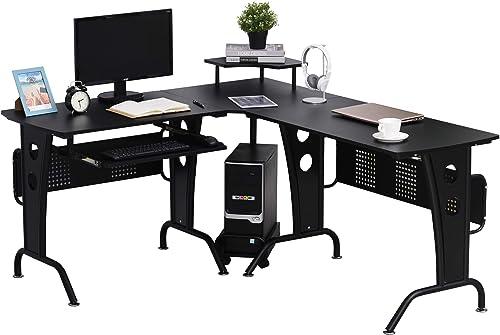 Reviewed: HOMCOM L-Shaped Corner Computer Office Desk Workstation