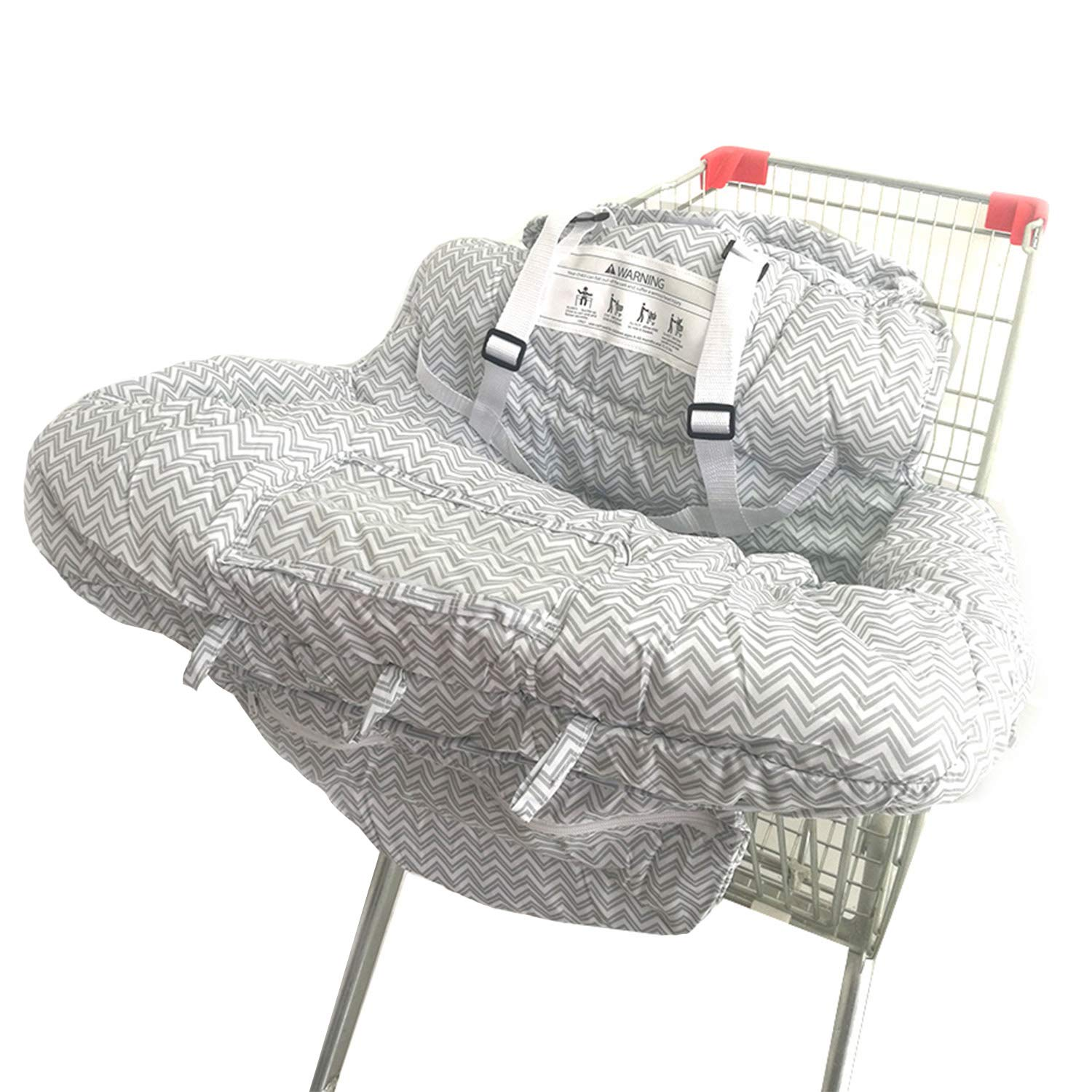 Shopping Cart Cover for Baby- 2-in-1 - Foldable Portable Seat with Bag for Infant to Toddler - Compatible with Grocery Cart Seat and High Chair -Gray Chevron Pattern