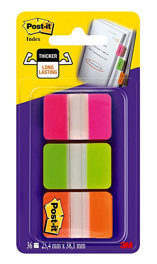 Post-it pestañas, sólido, 12 pestañas pestañas por color, 36 por dispensador, color Assorted Bright Lined 66 Tabs: Amazon.es: Oficina y papelería