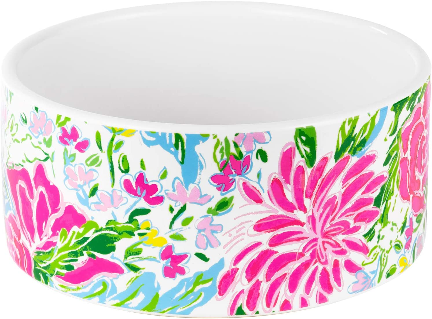 Lilly Pulitzer Ceramic Dog Bowl for Food or Water, 4/5 Cup Pet Dish for Home, Bunny Business