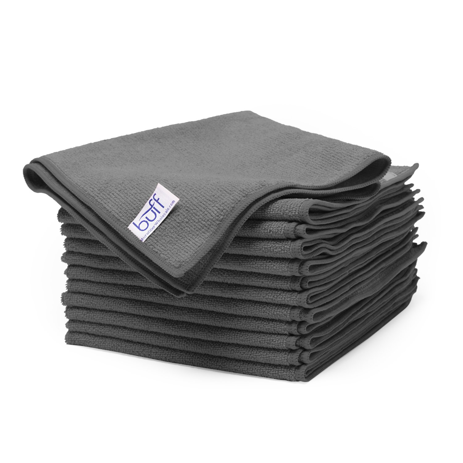 Buff Pro Multi-Surface Microfiber Towel - 12 Pack| Premium Microfiber | Dust, Scrub, Clean, Polish, Absorb | Large 16'x16' (Black) Absorb | Large 16x16 (Black) Microfiber Wholesale BPMSMT1616