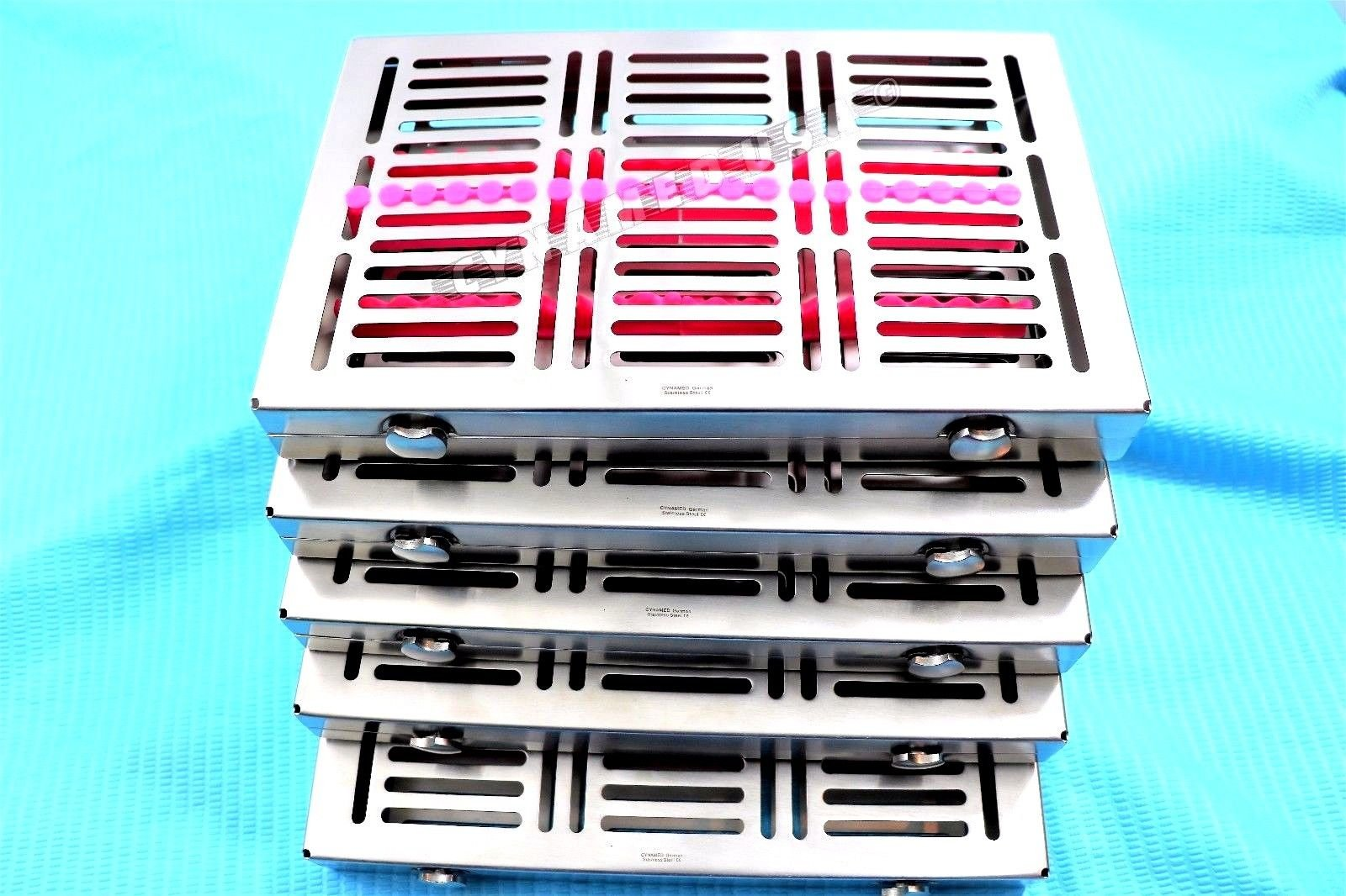 NEW HEAVY DUTY PREMIUM GERMAN 5 DENTAL SURGICAL AUTOCLAVE STERILIZATION CASSETTES FOR 20 INSTRUMENTS ( PACK OF 5 EACH )