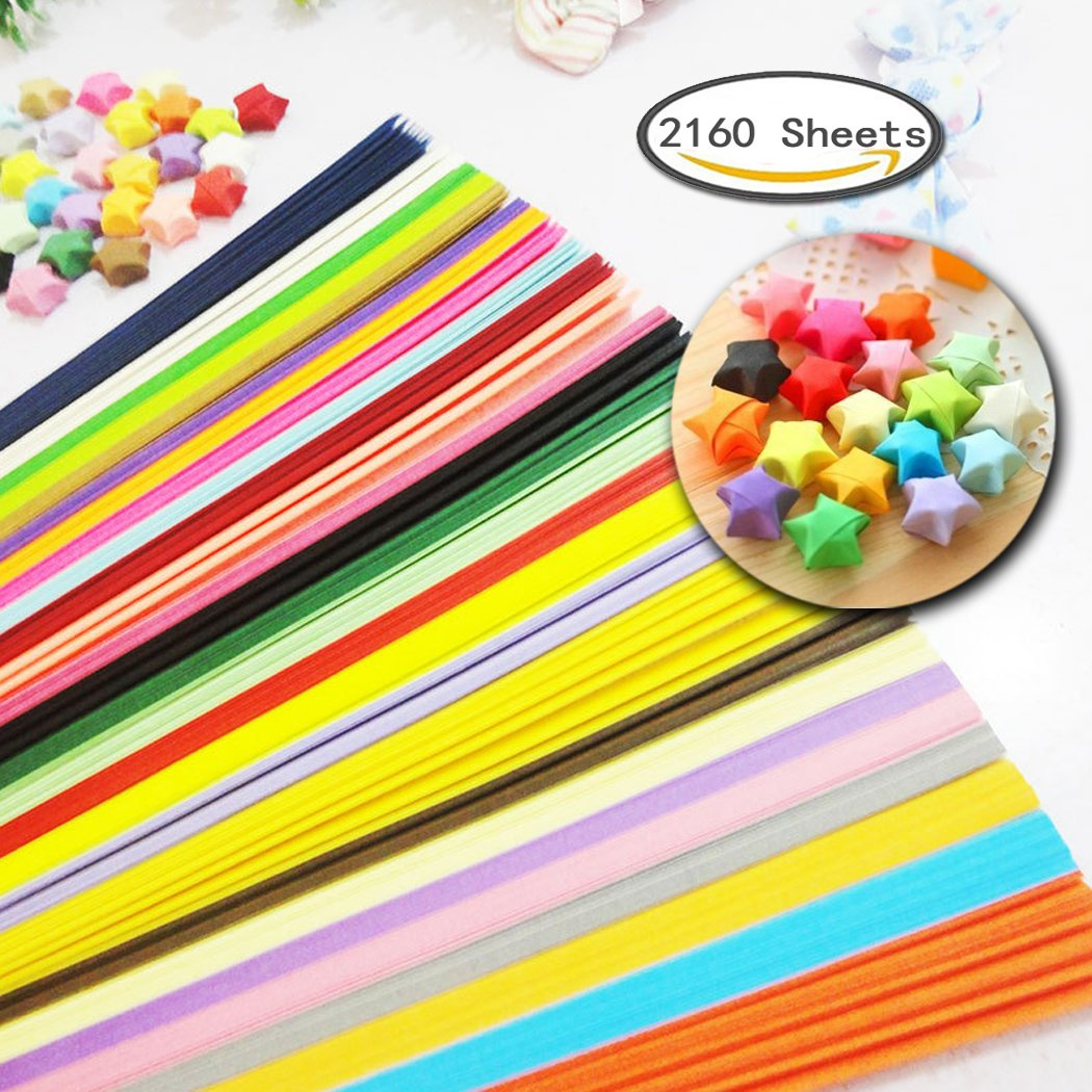 2160 Sheets Origami Stars Papers Package DIY Paper - 27 Colors