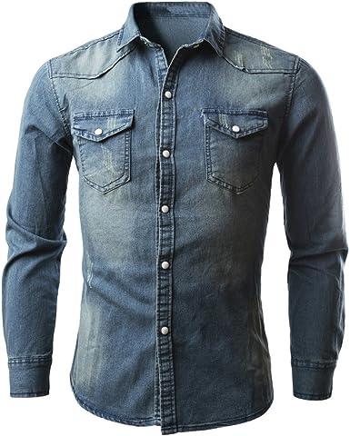 Camisa De Hombre De Mezclilla Botones De Vestir Casual con Bolsillo De Manga Larga Slim Fit Básica Retro Regular Fit De Moda Camisetas Blusa Tops: Amazon.es: Ropa y accesorios