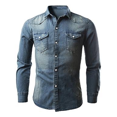 0f6a53339528f Camisa De Hombre De Mezclilla Botones De Vestir Casual con Bolsillo De Manga  Larga Slim Fit Básica Retro Regular Fit De Moda Camisetas Blusa Tops  ...