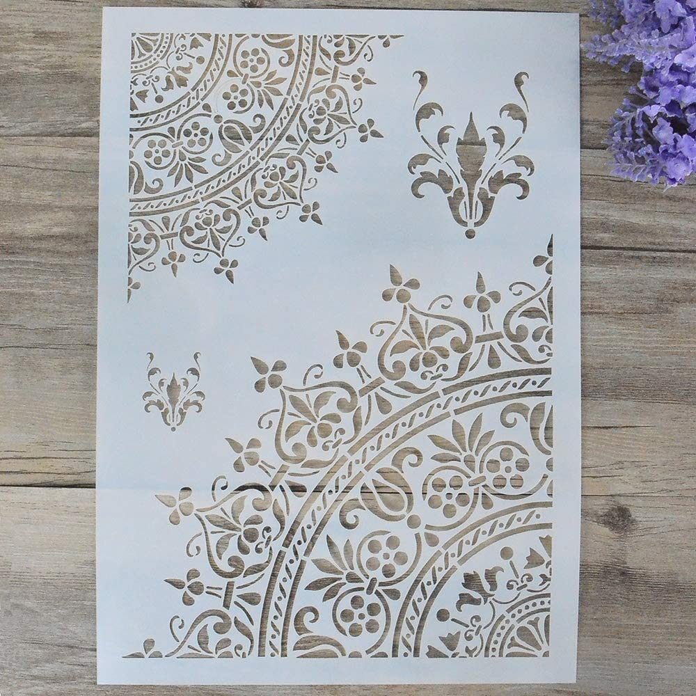DIY Decorative Mandala Stencil Template for Painting on Walls Furniture Crafts, Mandala (A4 Size)