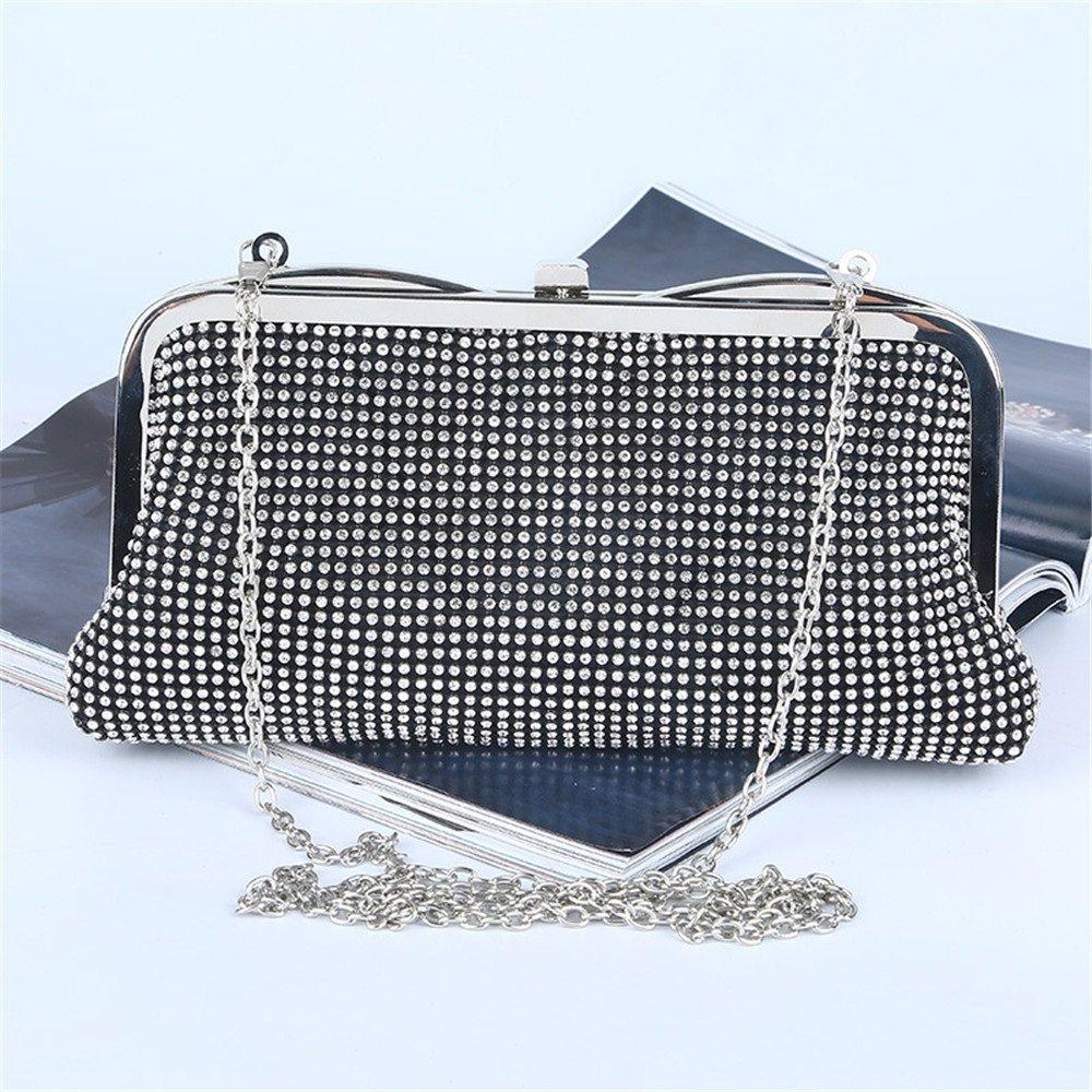 Aftonväska dam strass kristall kuvertväska kvinnor kvällsfest väska för brud bröllop damhandväskor (färg: svart) Svart