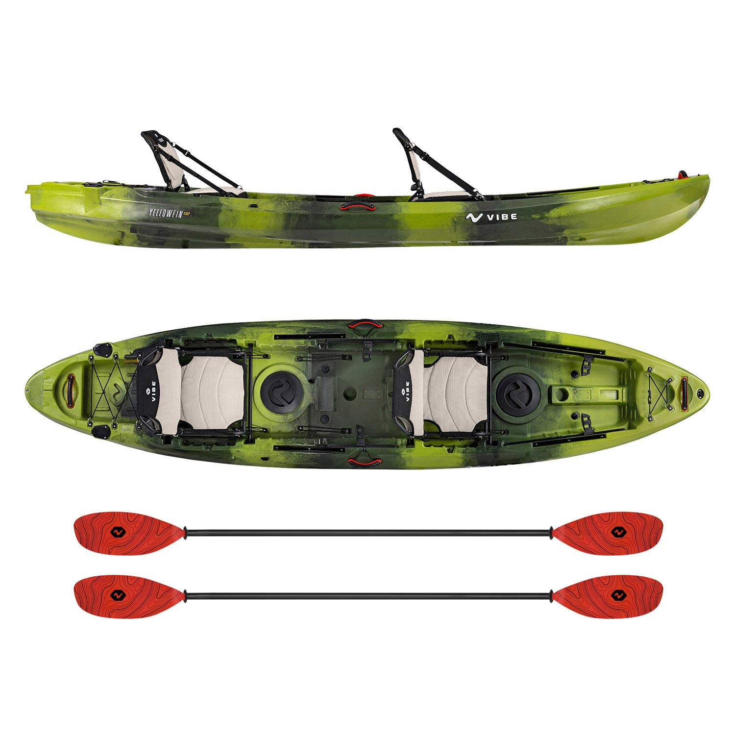 Vibe Kayaks Yellowfin 130T | 13 Foot | Tandem Angler and Recreational Two Person Sit On Top Fishing Kayak with 2 Paddles and 2 Hero Comfort Seats (Moss Camo - Tsunami Red Evolve Paddle)