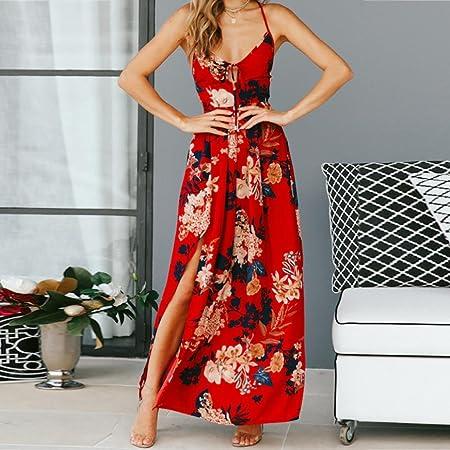 Vestido de playa de verano, para mujer, con correa larga de cruz, vestido de noche, estilo retro, estilo casual, estampado floral, cintura alta, ...
