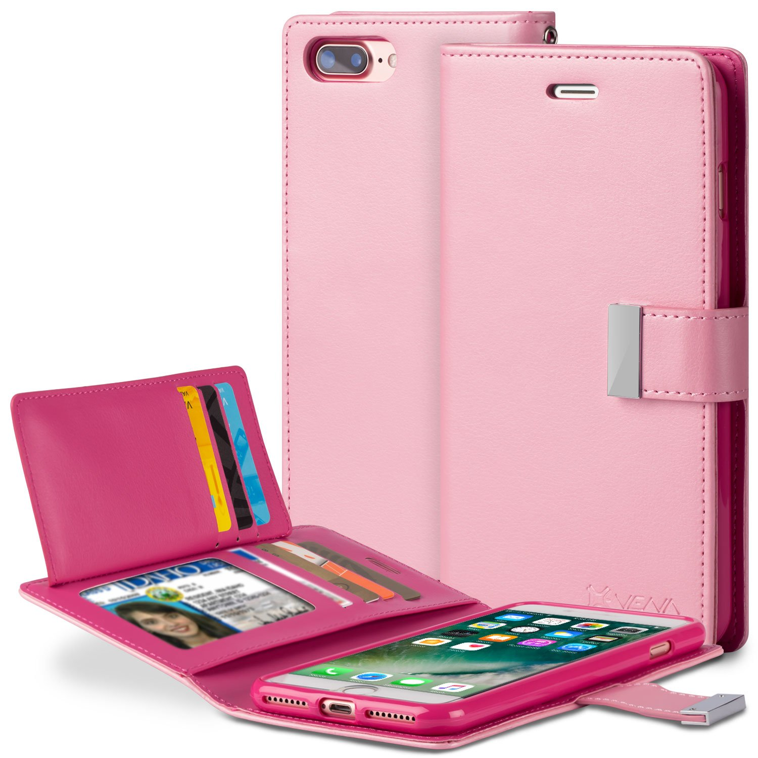 iPhone 8 Plus Wallet Case, VENA [vDiary] Slim Tri-Fold Leather Wallet Case with Stand Flip Cover for Apple iPhone 8 Plus / 7 Plus (5.5'') - Light Pink / Hot Pink