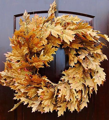 amazon com large fall oak leaf wreath for thanksgiving or harvest
