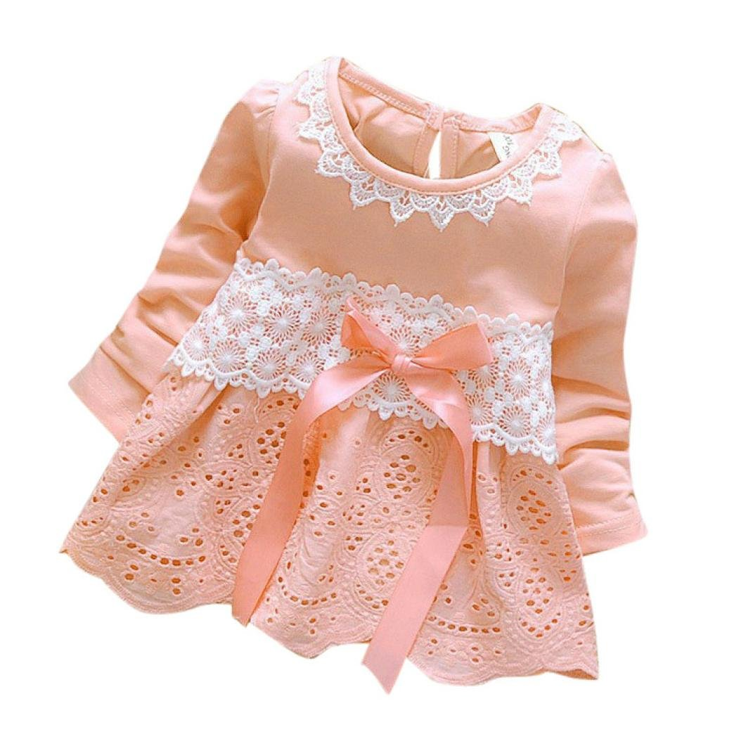 YANG-YI Baby HOT Girls Long Sleeve Party Lace Flower Bow Princess Dress Kids Outfits