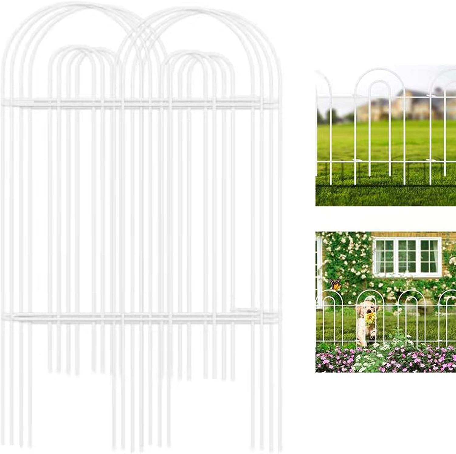 Amagabeli Decorative Garden Fence 32inx20ft Rustproof White Iron Landscape Wire Folding Fencing Ornamental Panel Border Edge Section Edging Patio Fences Flower Bed Animal Barrier Outdoor White