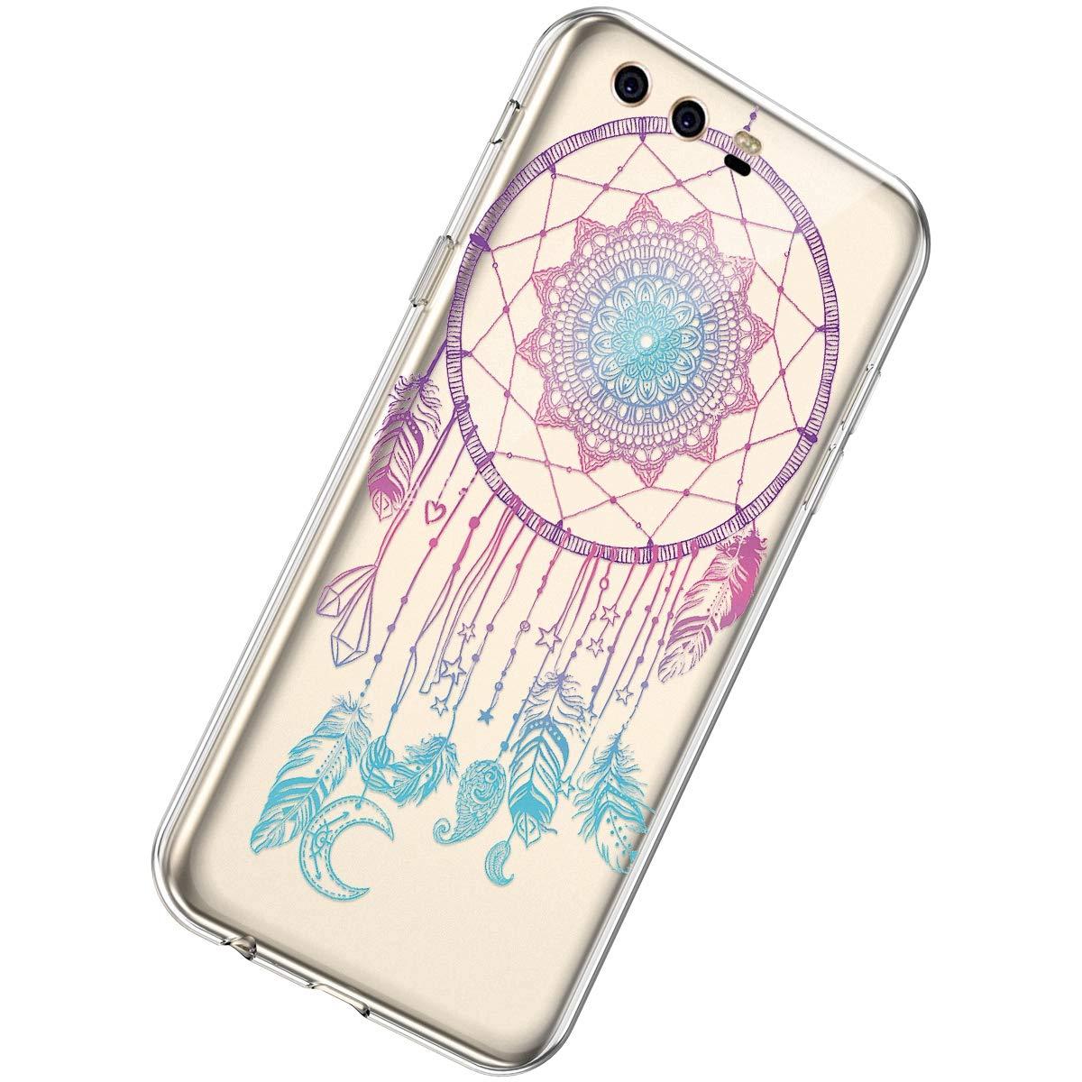 Herbests Compatible avec Huawei P10 Coque Transparent avec Motif de Mandala Crystal Clear Etui Housse de Protection TPU Silicone Bumper Case Cover,Bleu Totem Fleur