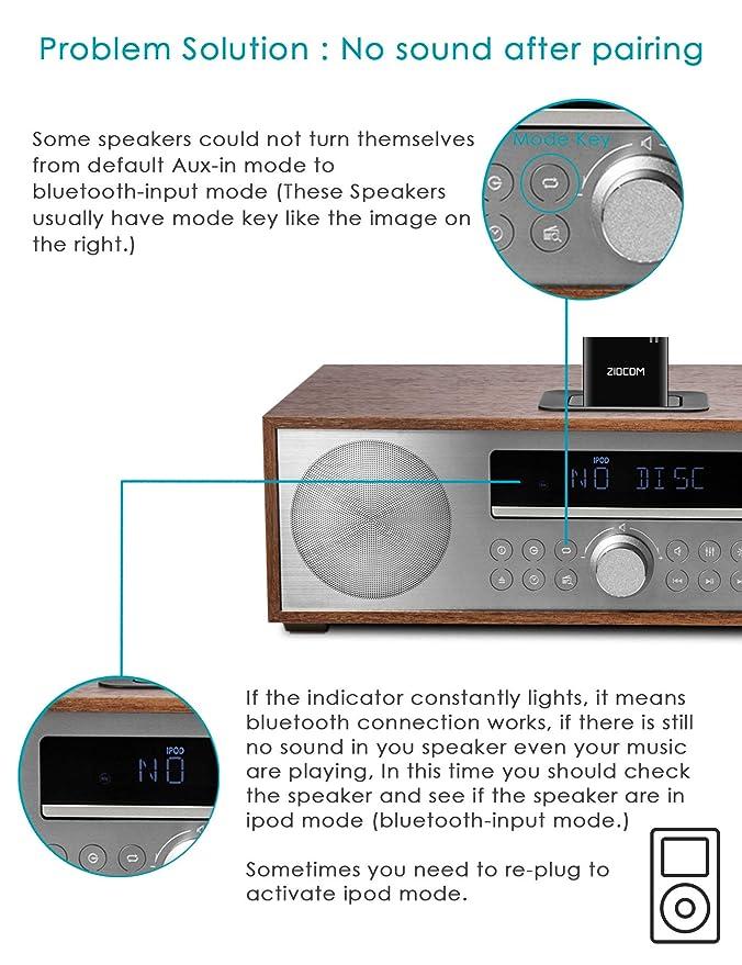 Ziocom Bluetooth 4.1 A2DP Receptor de música de Audio Adaptador Bluetooth Adaptador de Audio inalámbrico portátil para Bose Sounddock y 30Pin iPhone iPod ...