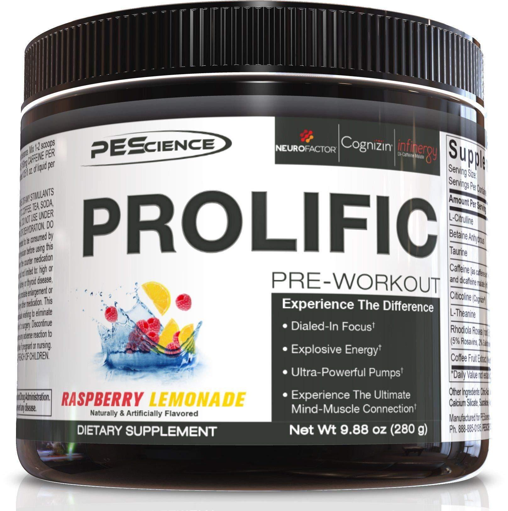 PEScience Prolific Preworkout Powder, Raspberry Lemonade, 40 Scoops by PEScience