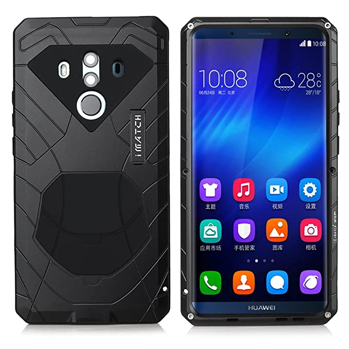 sale retailer 2eeb2 b8bb3 Huawei Mate 10 Pro Case, Cresee Hybrid Armor Aluminum Metal Shockproof  Bumper Frame Case Soft Rubber Silicone Military Heavy Duty Hard Case with  ...