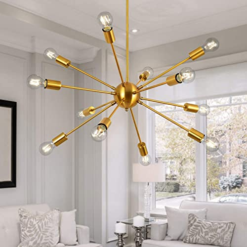 Modern Sputnik Chandeliers 12 Lights Mid Century Vintage Ceiling Light Fixture Industrial Pendant Lighting for Kitchen Dining Room Living Room Bedroom, Brass