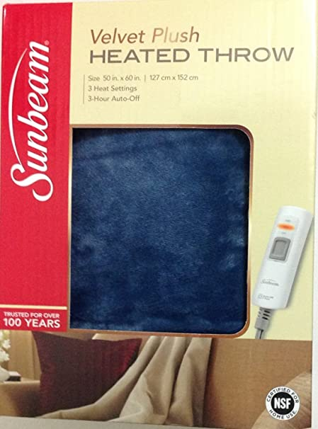"Sunbeam Microplush eléctrico climatizada manta mantas – varios colores, Microfibra, azul, 50"""