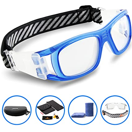 ff5309b349d PONOSOON Sports Goggles Glasses for Basketball Football Volleyball Hockey  1809(Transparent Blue)