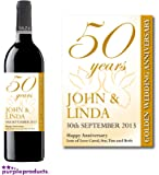Personalised 50th Golden Wedding Anniversary Wine Bottle Label Gift for Women and Men