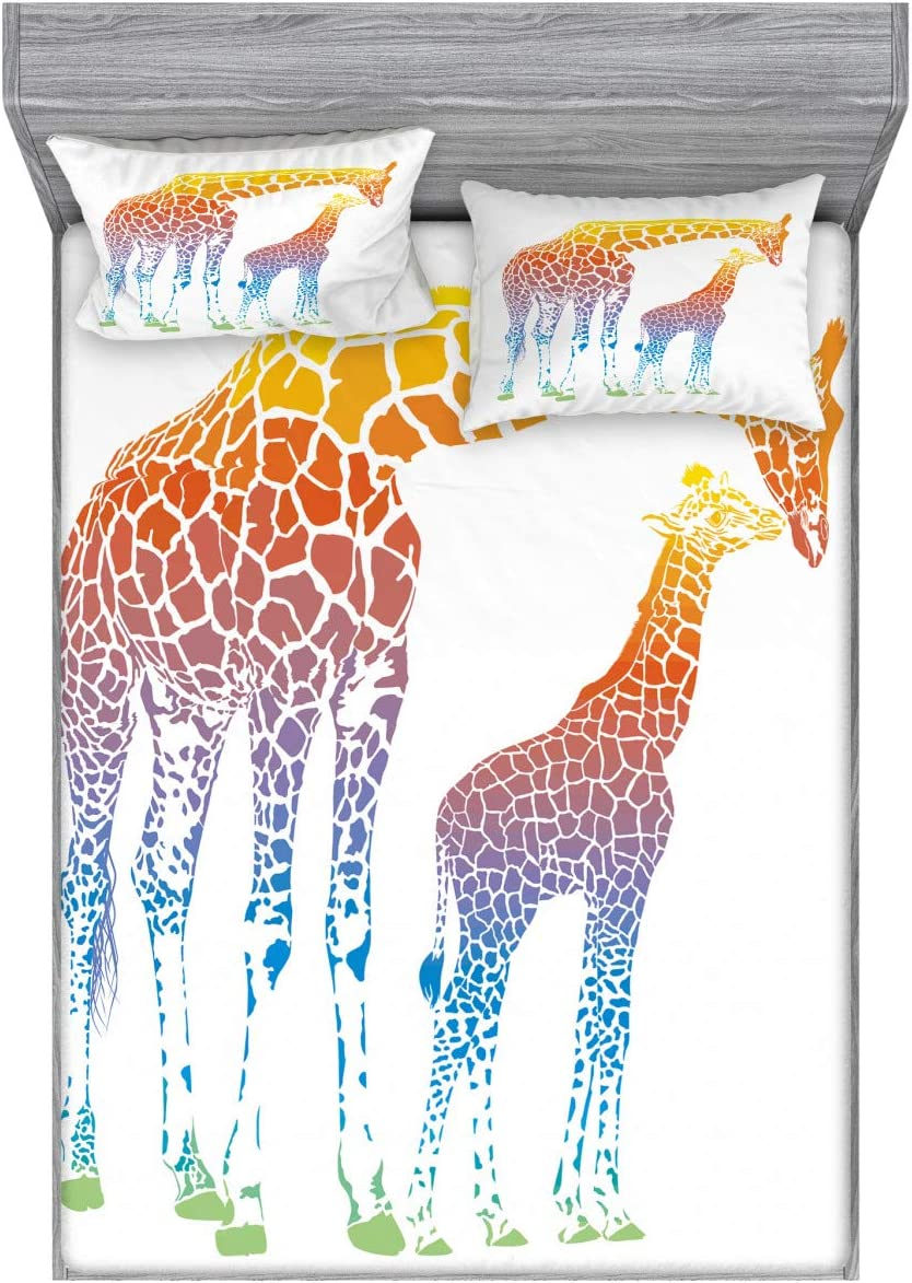 Ambesonne Giraffe Bedding Set with Sheet & Covers, Mom Kid Giraffe in Rainbow Colors Abstract Art Surrealist Image of Animal, Printed Bedroom Decor 2 Shams, Queen, Multicolor