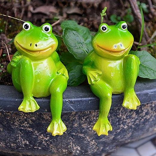 LVA Esculturas de jardín – 1 par de Bonitas Ranas sentadas de Resina, Estatua de jardín, Escultura de Rana Decorativa para el hogar, Escritorio, jardín, decoración de Ranas pequeñas: Amazon.es: Jardín