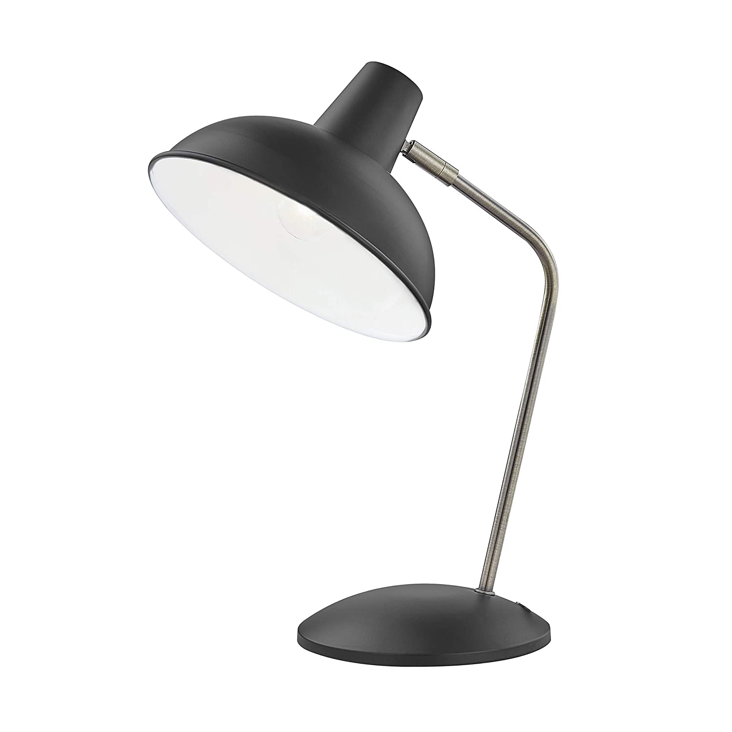 Light Society LS-T261-BK Hylight Black Retro Desk Lamp with Antique Brass Details, Mid Century Modern Vintage Style