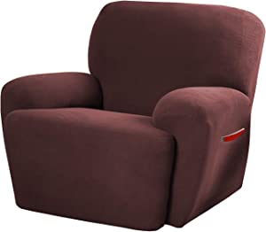 Maytex 4300319 Pixel Ultra Soft Stretch 4 Piece Recliner Arm Furniture Cover Side Pocket, Wine Red Chair Slipcover