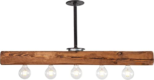West Ninth Vintage Recessed Wood Beam Chandelier – Indoor Downlight for Farmhouse Home Decor -Perfect for Kitchen Island – Bar – Dining Room – Early American Stain