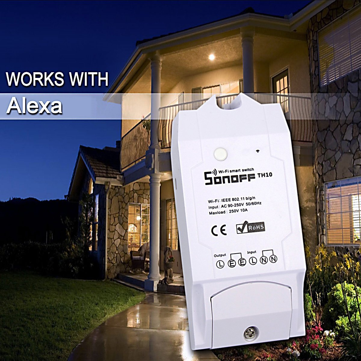 Sonoff TH10 Switch - 10A Temperature and Humidity Monitoring WiFi Smart Switch for DIY Smart Home