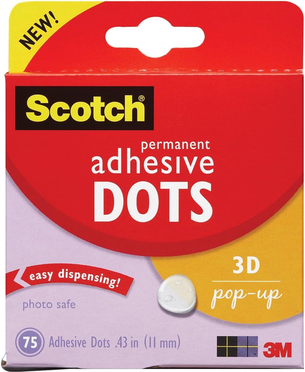 Scotch 010-75PU 75//Pack 3D Pop-Up Adhesive Dots