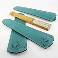Funda de abanico de cuero color turquesa. Estuche de piel para abanico. Abaniquera turquesa. Protector de abanico de…
