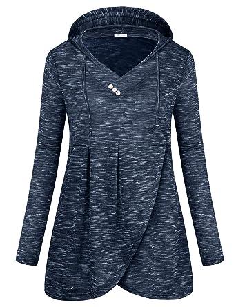 a930f6efb66 SeSe Code Women Long Sleeve V Neck Hooded Asymmetric Hem Casual Tunic  Sweatshirt