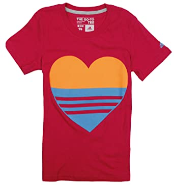 Amazon.com  adidas Big Girls Lovely Heart Short Sleeve Tee  Clothing c0c00b66e