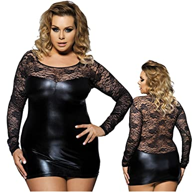 Marysgift Womens Lace Long Sleeve Plus Size Babydoll Lingerie Club