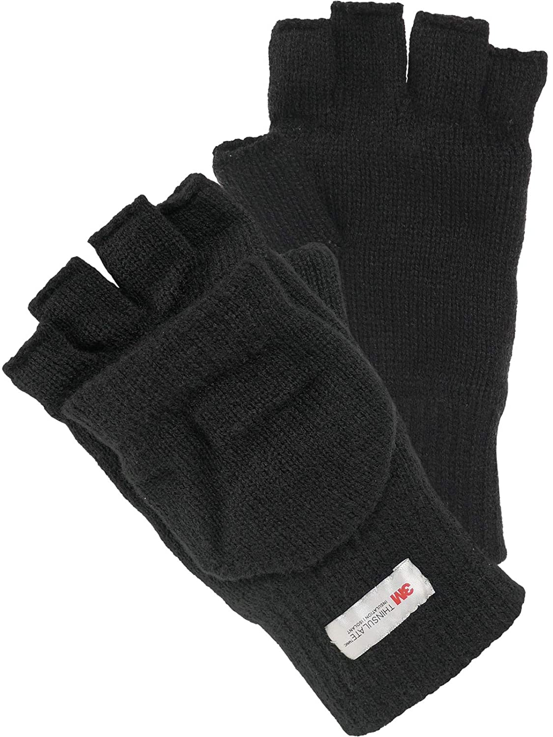 Harrys-Collection Halbfinger Handschuh mit Klappe warm gef/üttert