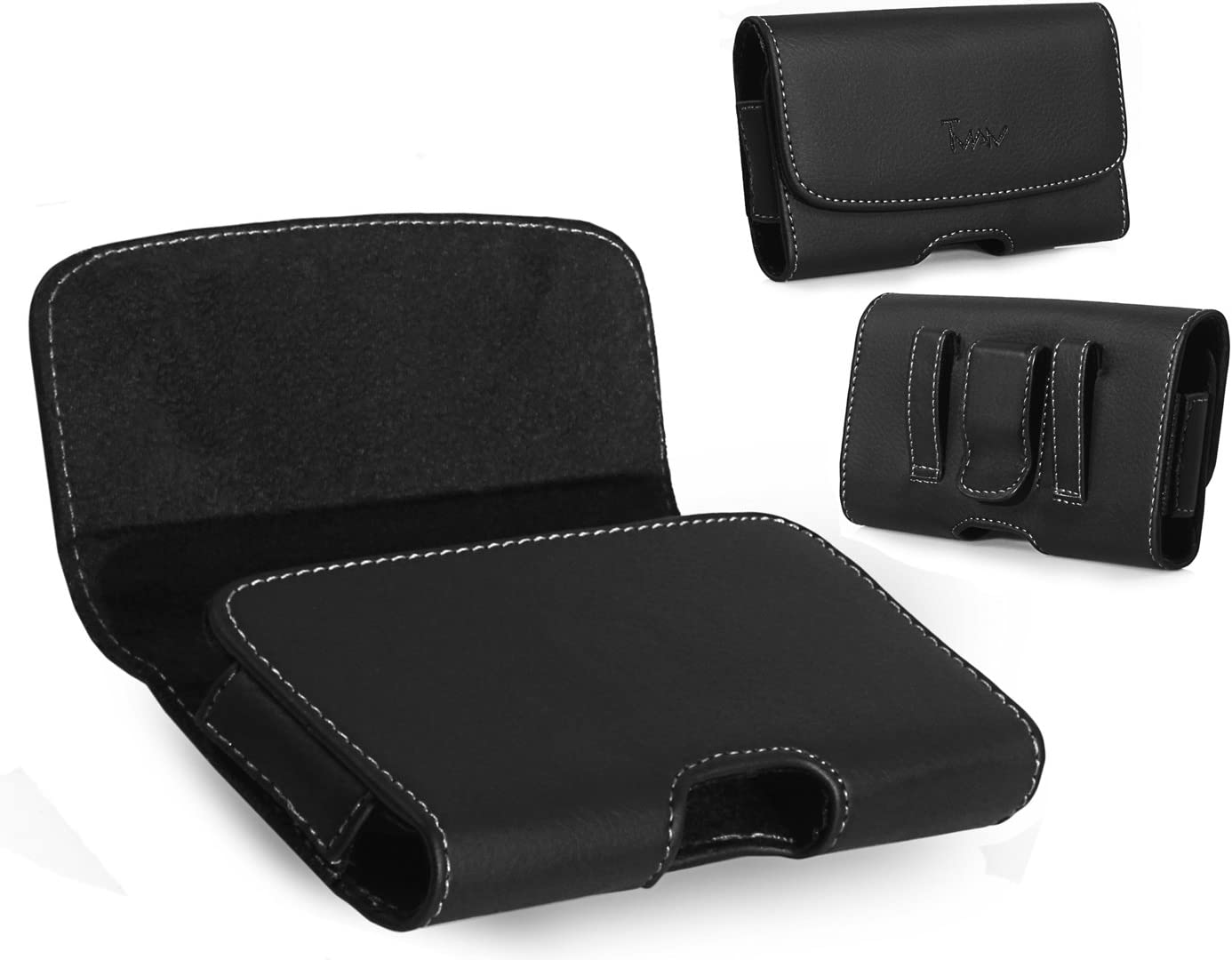 Leather Horizontal Belt Clip Case Pouch Holster for LG Revere 3 VN170 Revere 2 VN150S Envoy II UN160 [PERFECT FITS WITH WATERPROOF ON IT ]