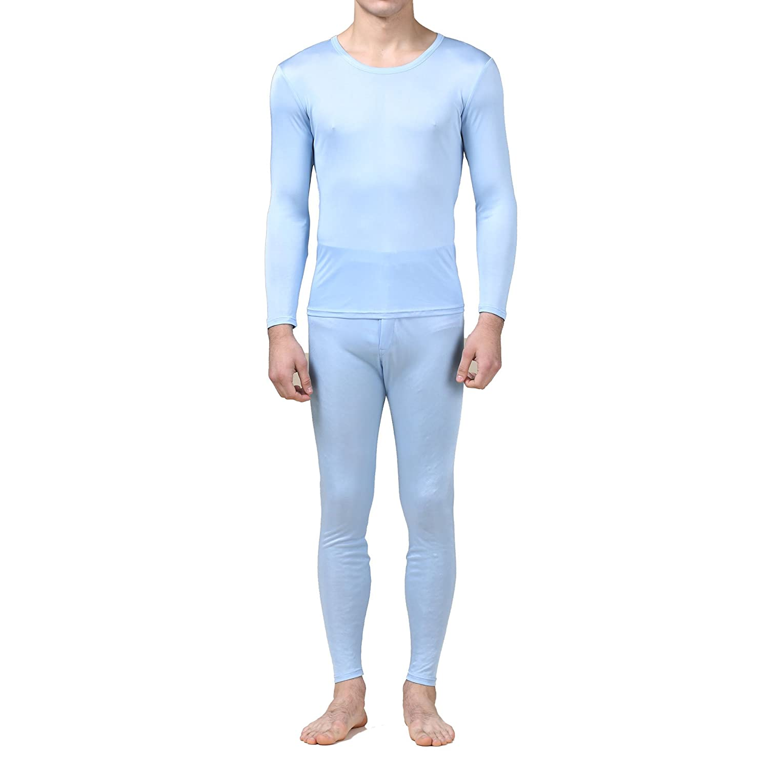 Pure Silk Knit Round Neck Men Underwear Long Johns Set SKMLJ9802