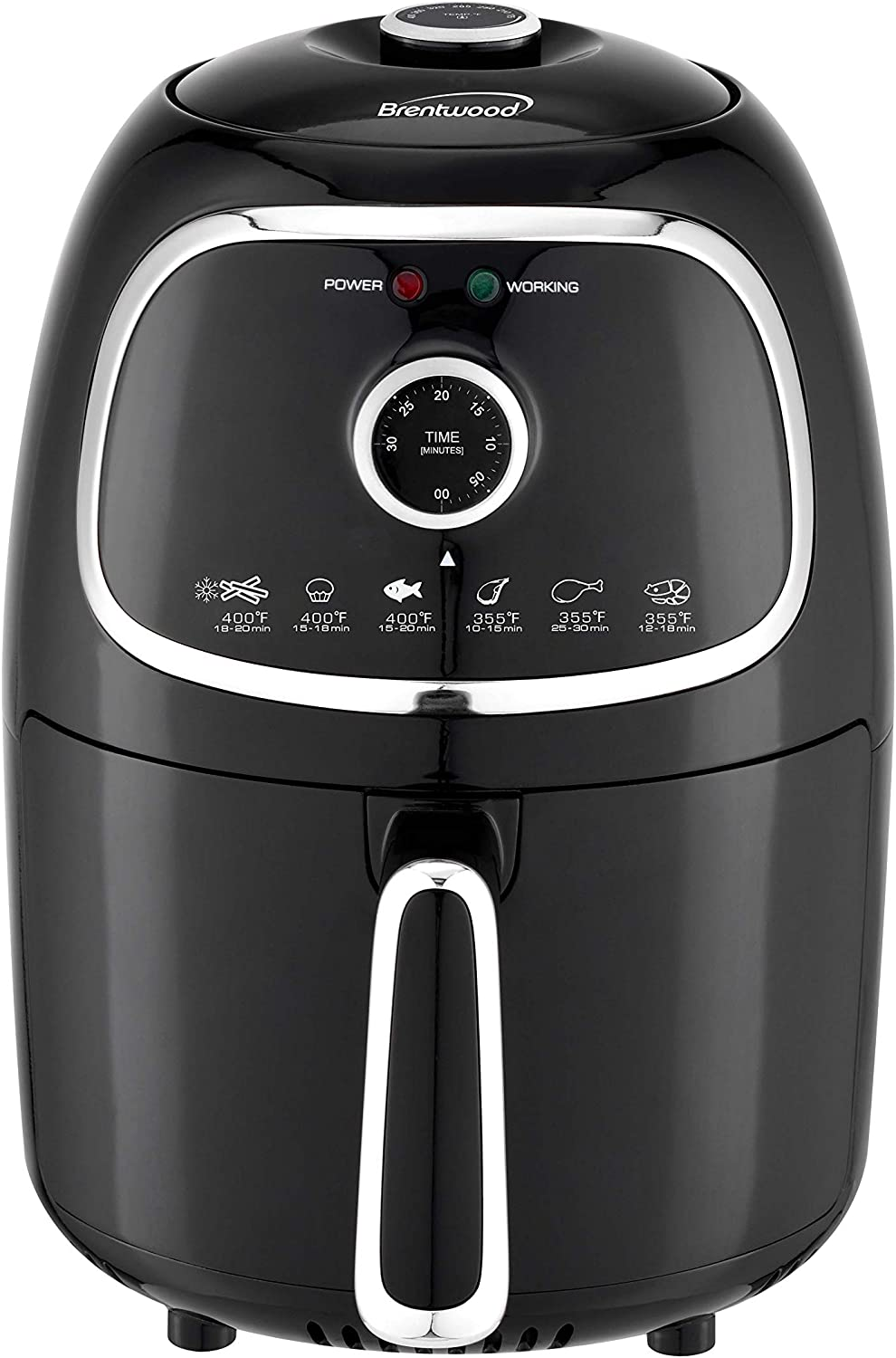 Brentwood Appliances AF202BK 2-Quart Small Electric Air Fryer with Timer and Temperature Control, Black