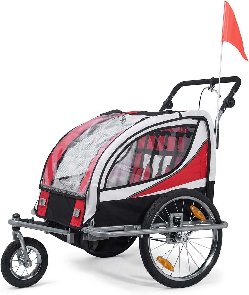 Silver Frame SAMAX Remorque V/élo convertible Jogger 2en1 360/° rotatif Pour 2 Enfants Amortisseur Transport Poussette en Bleu